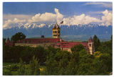 Postcard of Old Main and Wellsville Mountains, Logan Utah