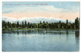 Postcard of Wasatch Mountains from Liberty Park, Salt Lake City