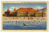 Postcard of Saltair Pavilion from the water, by the Great Salt Lake