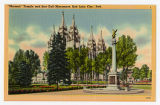 Postcard of Salt Lake Temple and Seagull Monument