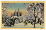 Postcard of Salt Lake Temple in winter