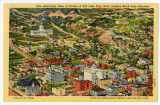 Postcard of Salt Lake City from the air, including Temple, Tabernacle, Capitol and L.D.S. Hospital