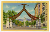 Postcard of Eagle Gate looking towards Capitol building, Salt Lake City, UT
