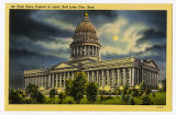 Postcard of Utah State Capitol at night, Salt Lake City, UT