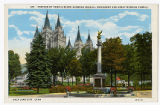 Postcard of Portion of Temple Block showing Seagull Monument and Great Mormon Temple