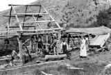 Water power sawmill devised and operated by Mr. and Mrs. Hans H. Hansen, Logan Canyon, Utah, 1900