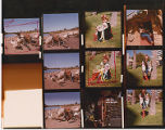 Color proof sheet with wheelchair on the beach and girls in costume